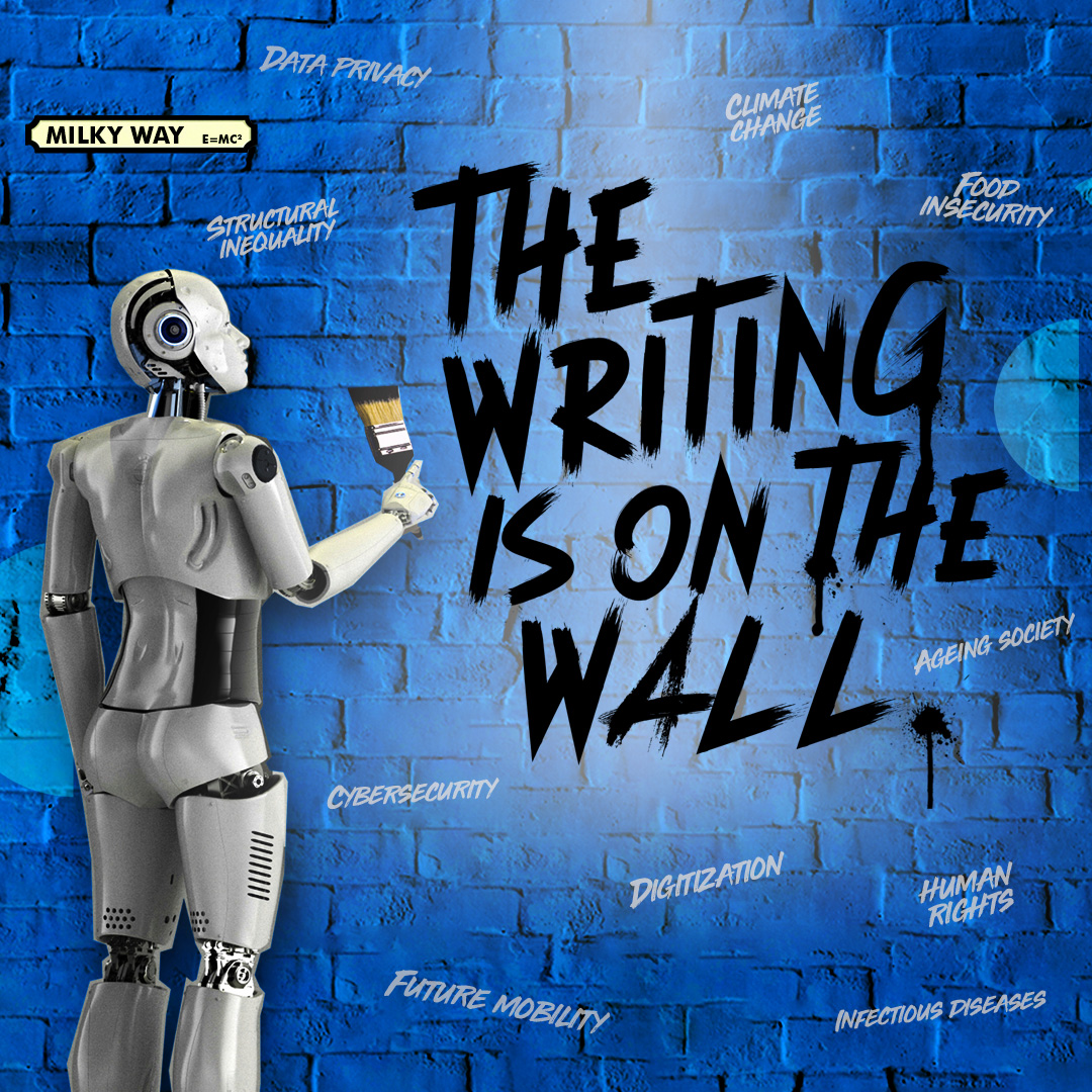 A robot writes graffiti on the wall. The Writings on The wall. Climate Change, Food Security, Ageing Society, Data Privacy, Structural Inequality