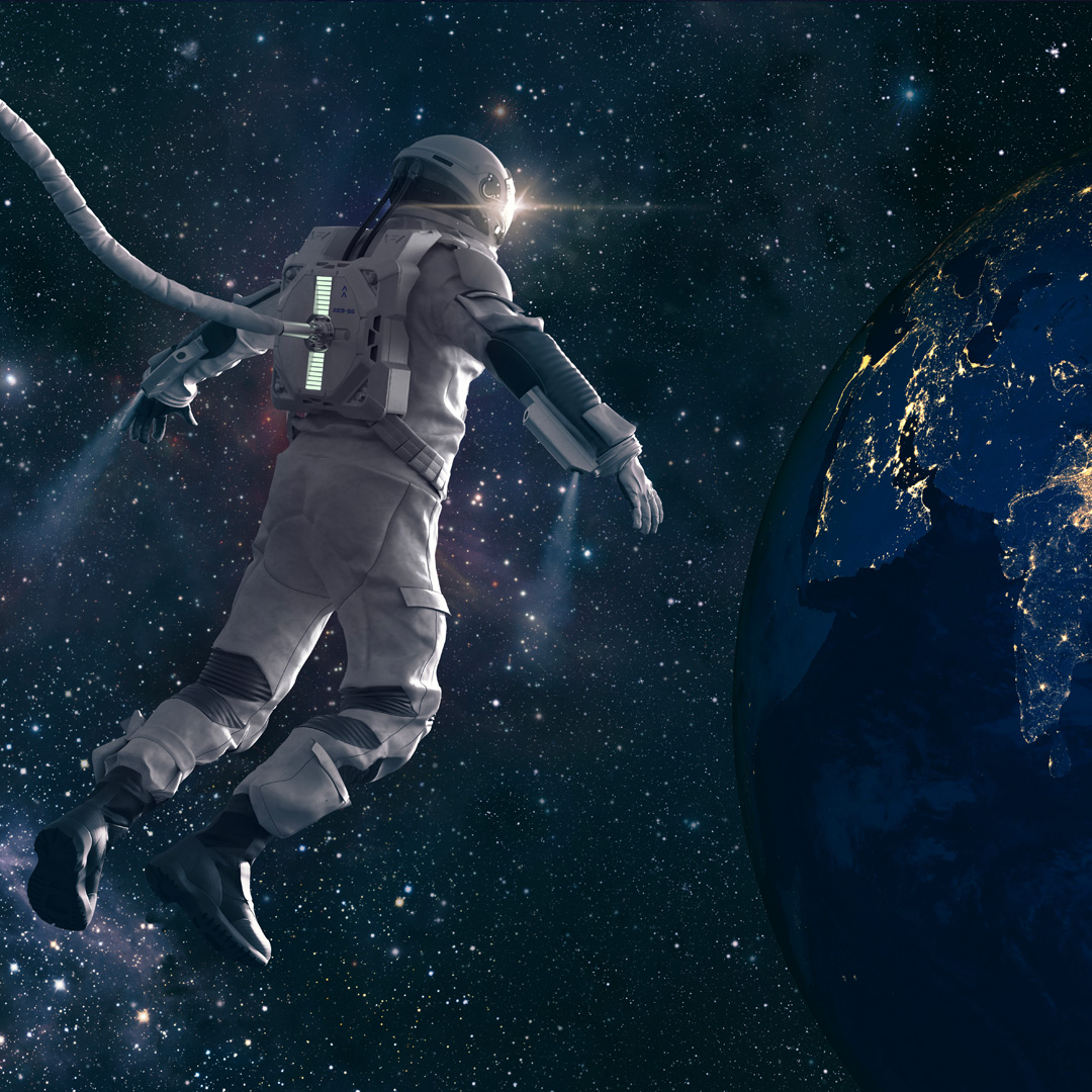 A space man looking at planet earth